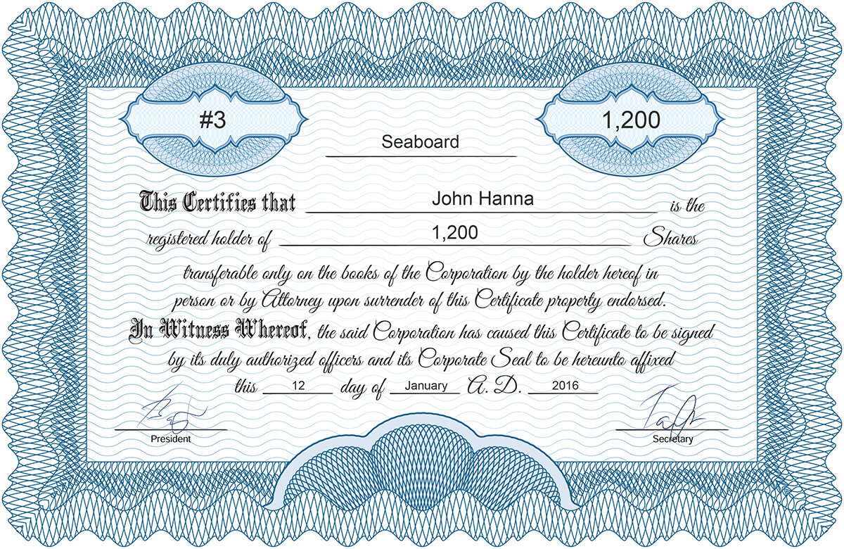 Certificate Template* Inc_classic  Printable Stock Certificates