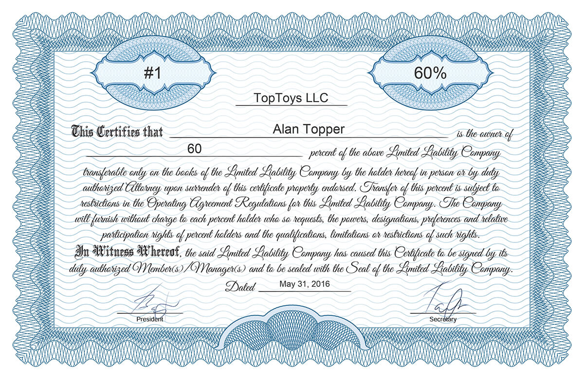 Delightful Certificate Template* Llc_classic  Example Of Share Certificate